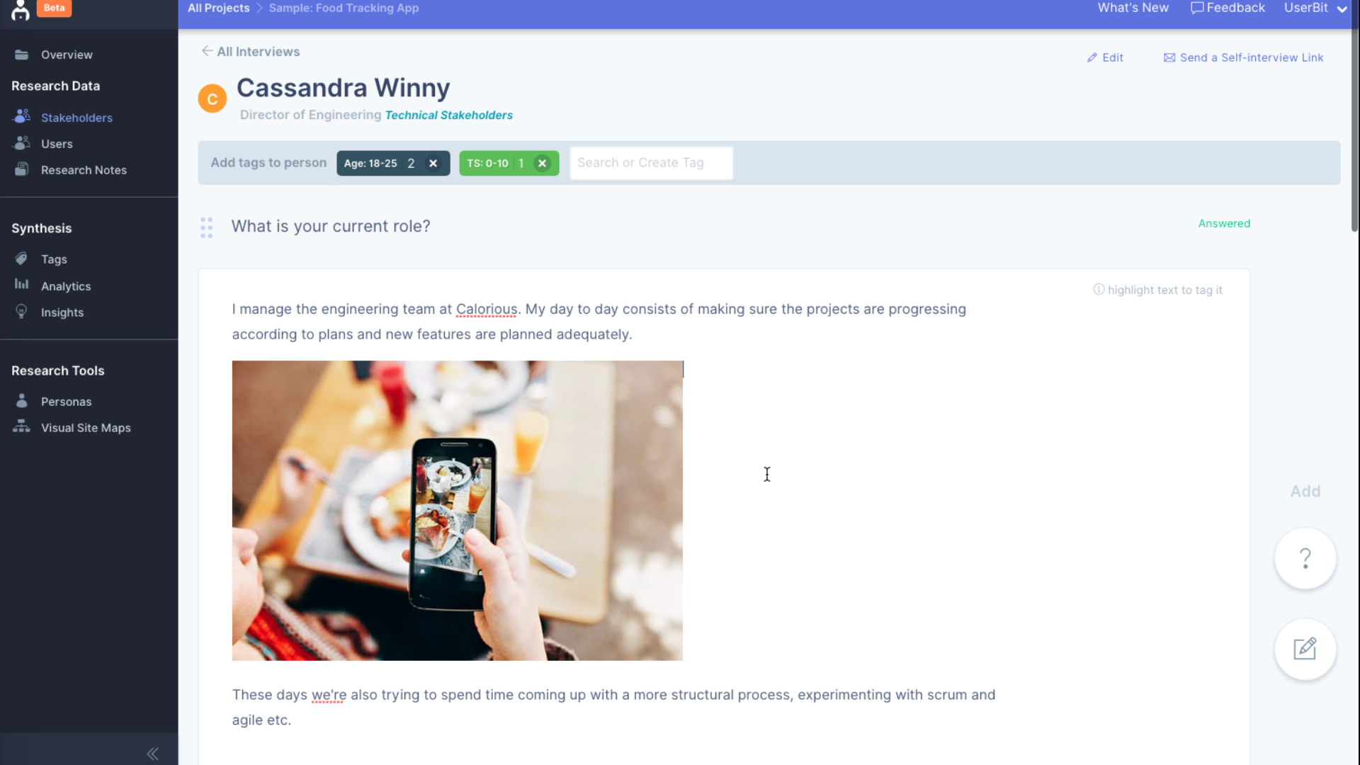 Add images to user interviews and notes!
