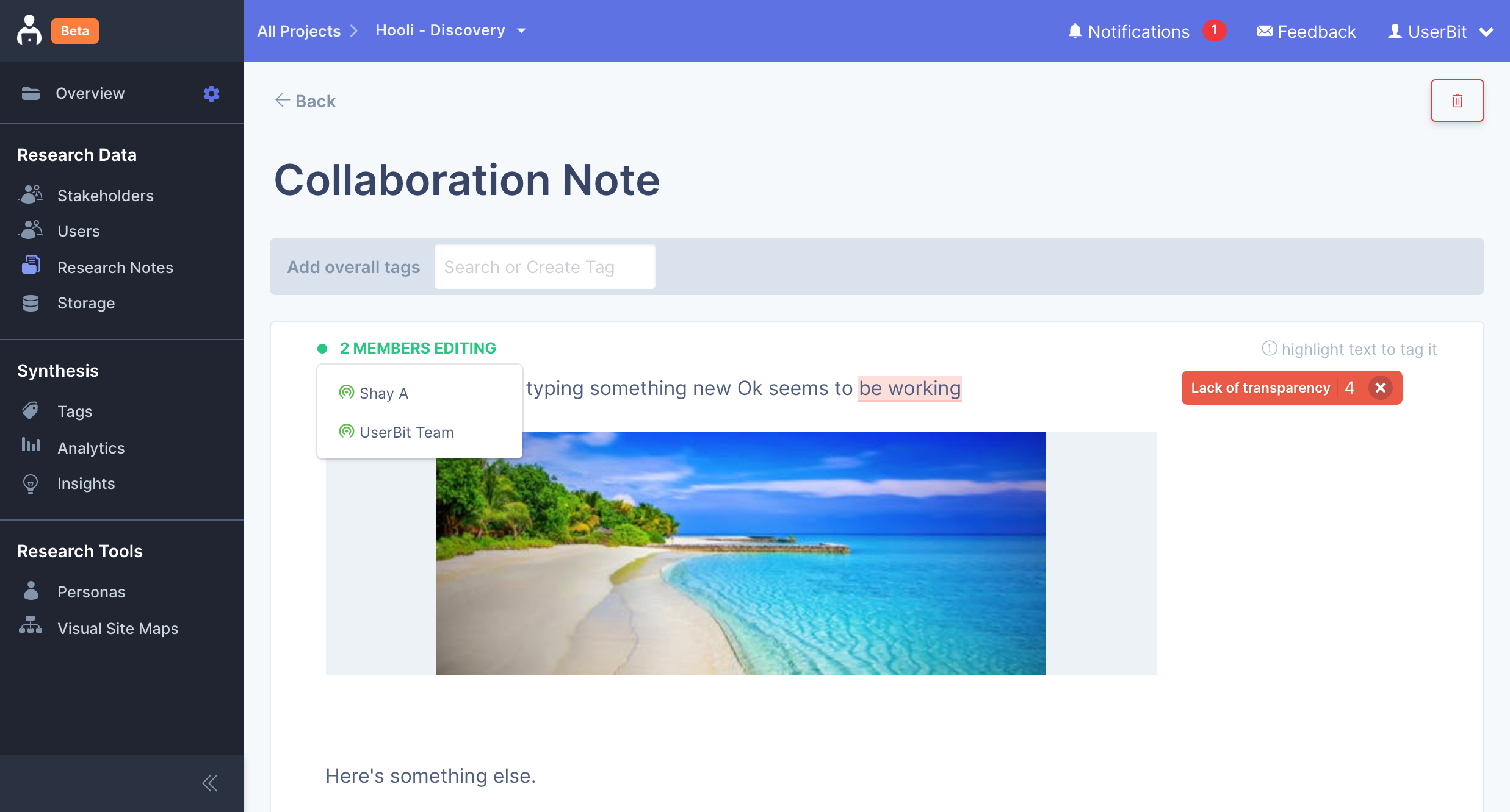 Real-time collaboration on Research notes