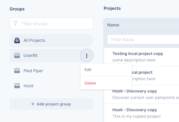 project group management on UserBit