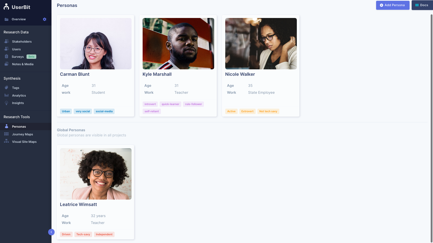 Global personas are automatically visible in all projects on UserBit