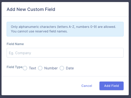 Form to create custom field on UserBit