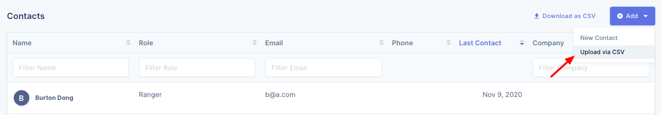 Upload global contacts via CSV on UserBit