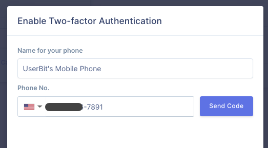 Two-factor authentication enrollment modal on UserBit