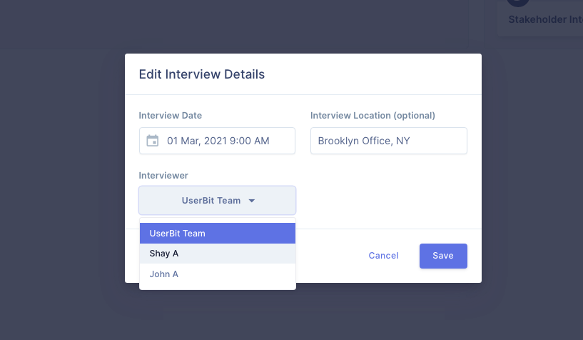 Add an interviewer to an existing interview on UserBit