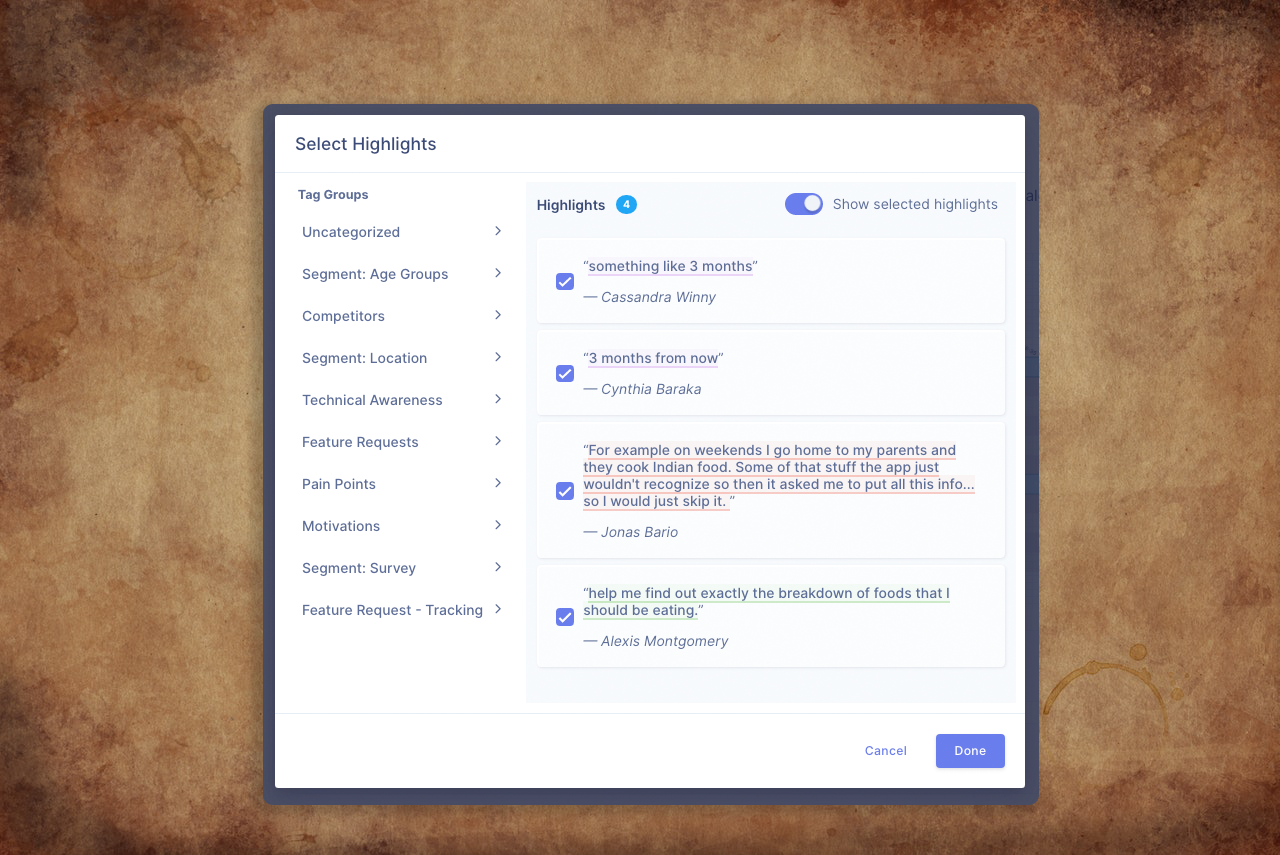 Add user interview quotes as evidence for your research insight
