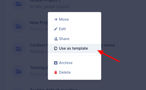 Use existing project as template on UserBit