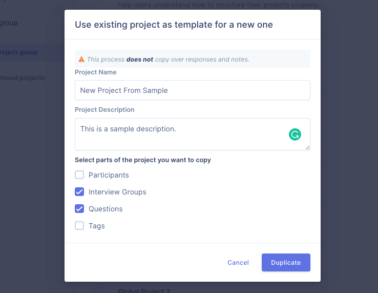 Copy the interview groups and questions from the existing project