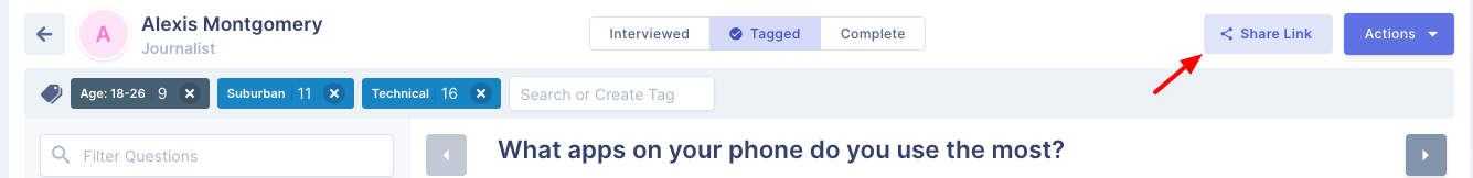 Share button on individual interviews