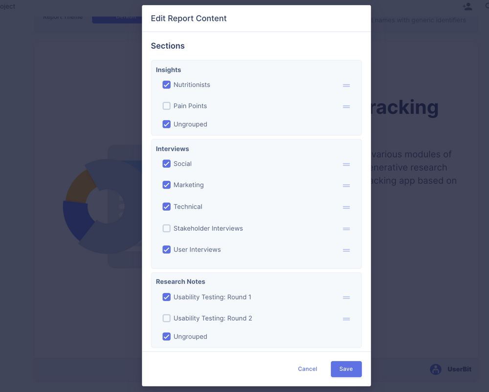 Customize your research project report on UserBit