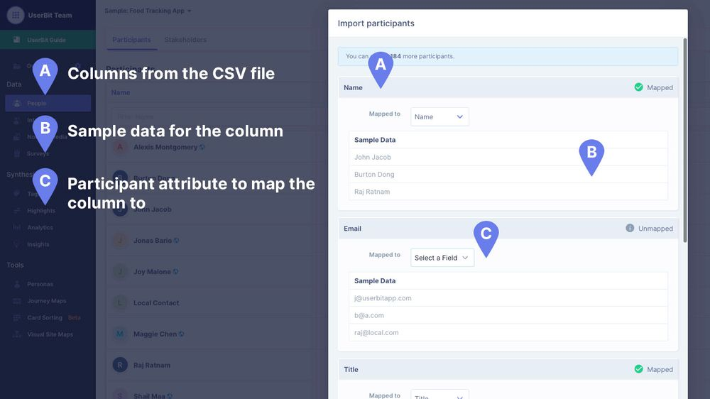 Column mapper for uploaded contacts on UserBit