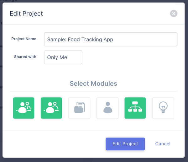 Project Modules — use only what you need for your project on UserBit