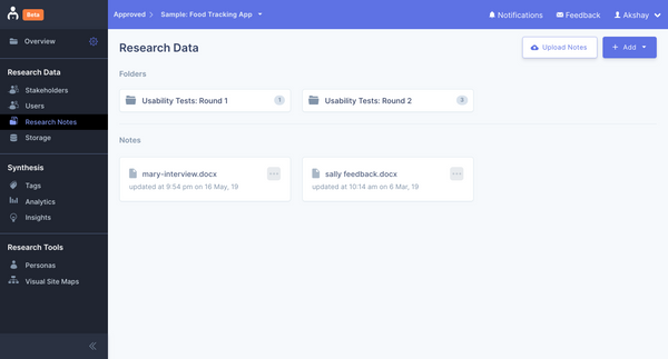 Organize your UX research notes into folders