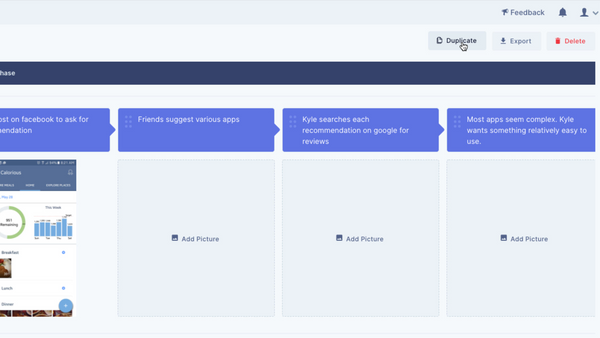 Duplicate user journey maps with one click