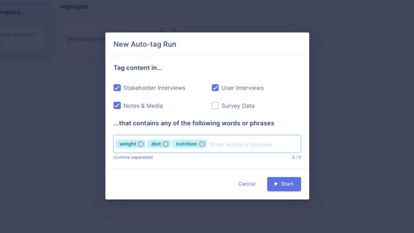 Auto-tagging content across the entire UX research project
